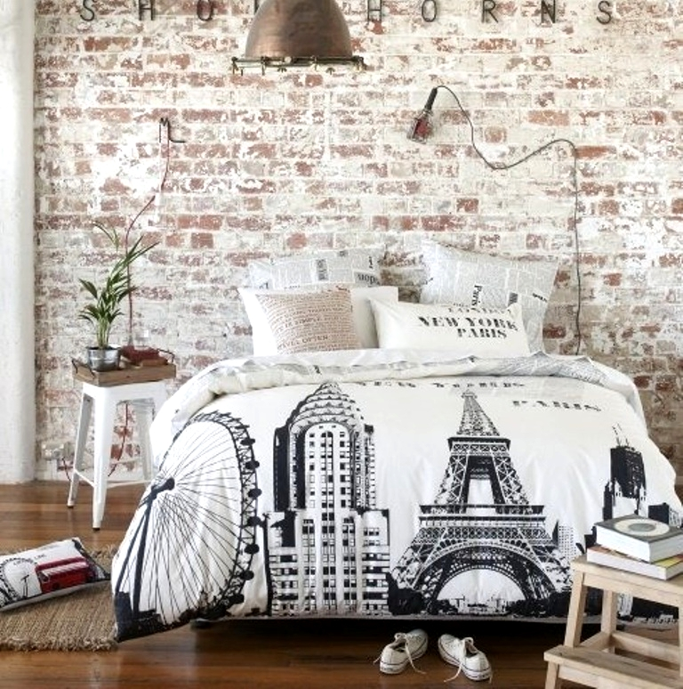 Shabby-Chic-Bedroom-with-brick-walls