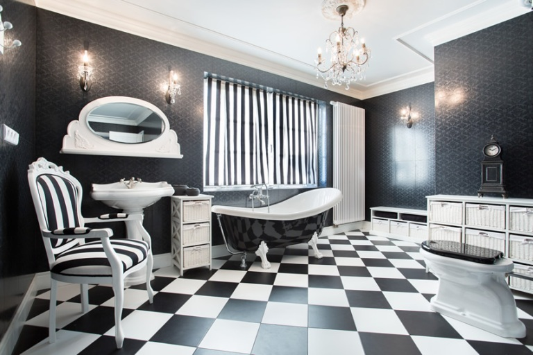 black-white-modern-bathroom-checker-style