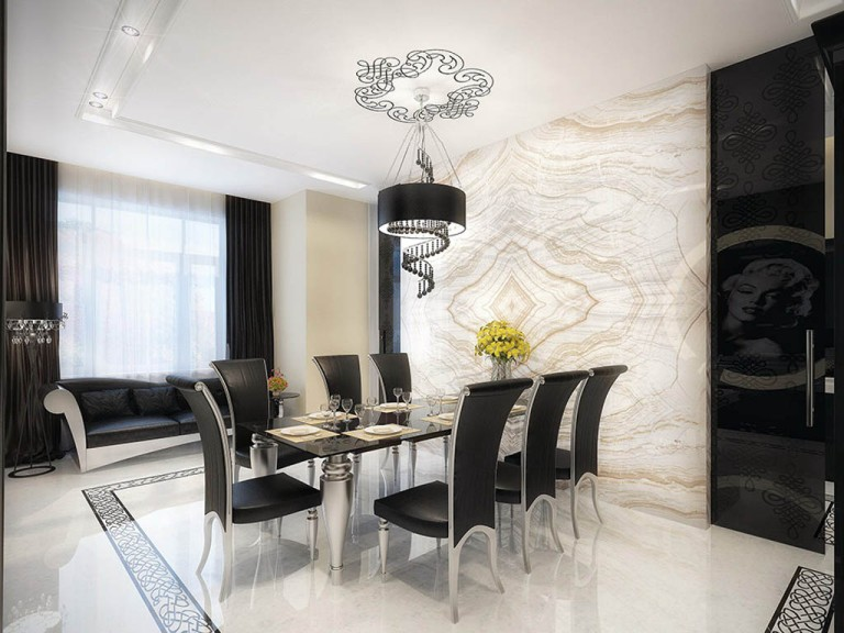diningroom-dining-room-dining-room-designs-ideas-ideas-with-marble-floor-kids-interior-design-and-white-black-color-theme-also-glass-table-high-back-armless-chairs-flowers-vase-plates-glasses-pendant