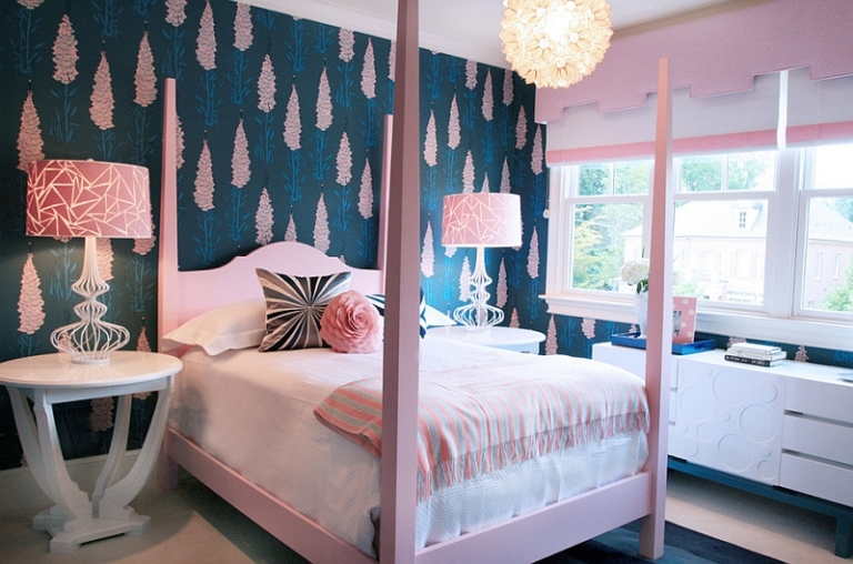 Cool-navy-and-pink-girls-bedroom