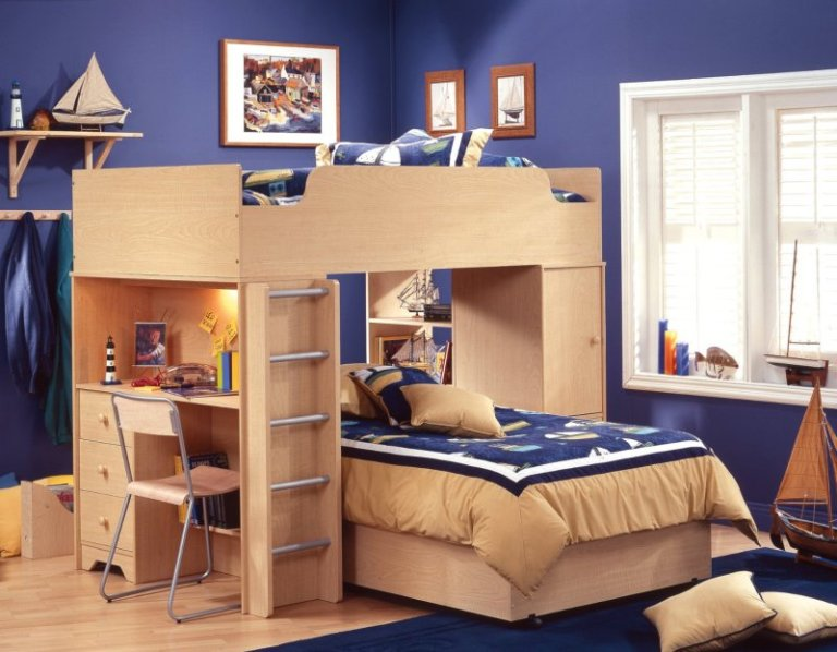 kids-room-designs-cool-blue-maritime-shared-kids-bedroom-design-boasts-amazing-wooden-bunk-beds-with-cool-study-desk-and-closet-underneath-cool-kids-bedroom-space-saving-ideas-loft-bed-a