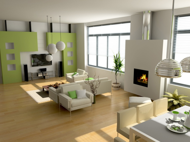 Modern-Dining-Room-and-Living-Room-Combination-with-Small-Fireplace-and-Laminate-Wood-Flooring-Also-Using-Chrome-Pendant-Light-above-Dining-Table