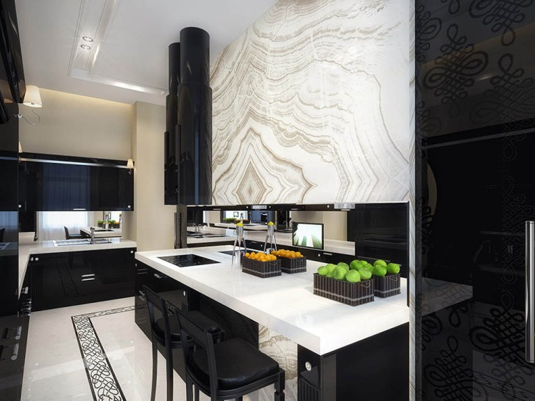 luxury-black-and-white-kitchen-ideas-with-dark-kitchen-cabinets-and-kitchen-island-with-dining-chair-and-range-hood