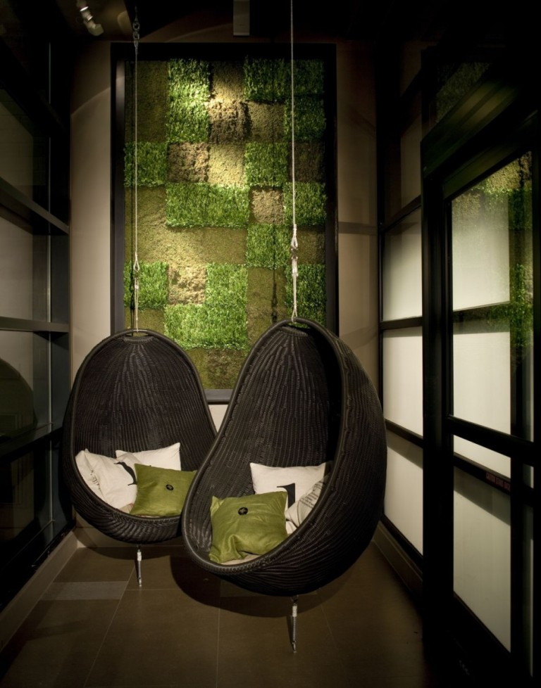 inspiring-indoor-garden-photo-gallery-feat-ultra-modern-black-hanging-chair-for-bedroom-design-idea